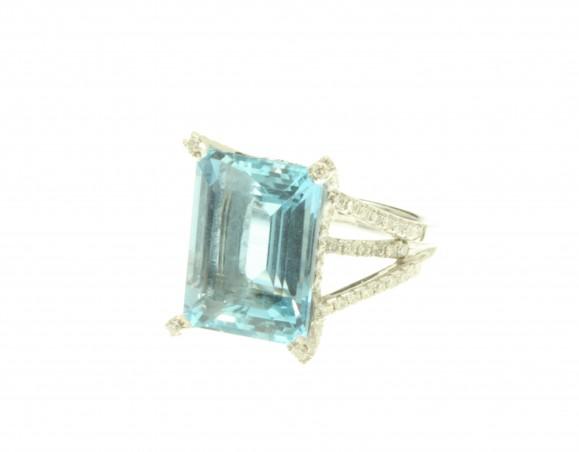 Aqua & Diamond Ring